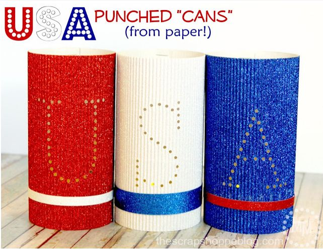 """USA"" Punched Paper Cans"