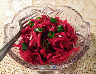 Serving of Ruby Root Veggie Slaw