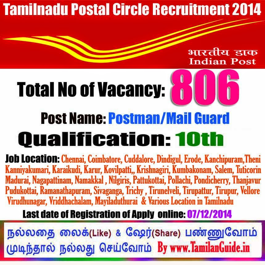 Tamilnadu Postal Circle Recruitment 2014 - Online Application for 807 Postman / Mail Guard Posts