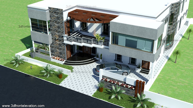 Front Elevation Of 100 Yards House : D front elevation yards house plan