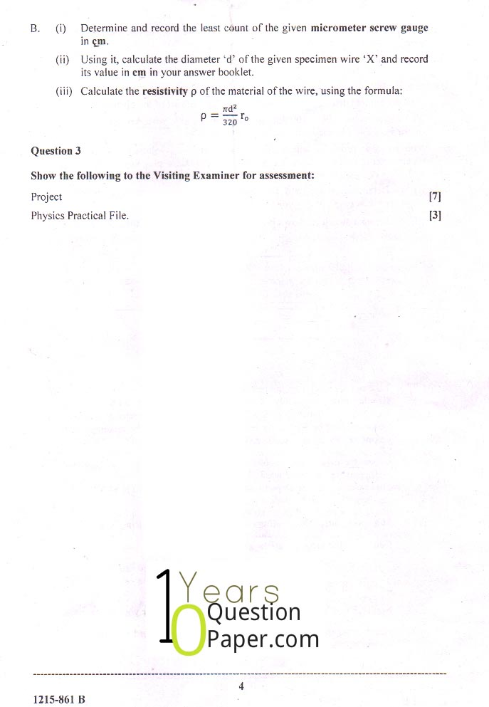 isc 2015 class 12th Physics Practical question paper