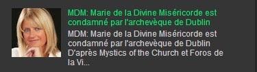 MDM: Marie de la Divine Miséricorde est condamné par l'archevèque de Dublin
