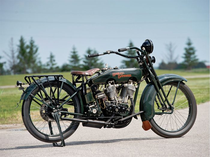 For a nearly hundred-year-old Harley, this genuine original looks like it's brand spanking new.  The 1922 Harley-Davidson JD Motorcycle was rebuilt, bolt-by-bolt, from tire to engine to handlebar using all original parts.  It is on its way to the St. John's auction by RM Auctions on July 27th, where its next owner will secure it…