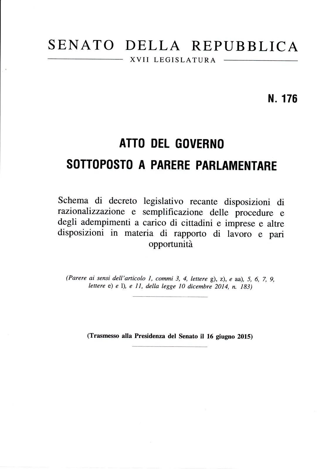 Schema di decreto legislativo n. 176