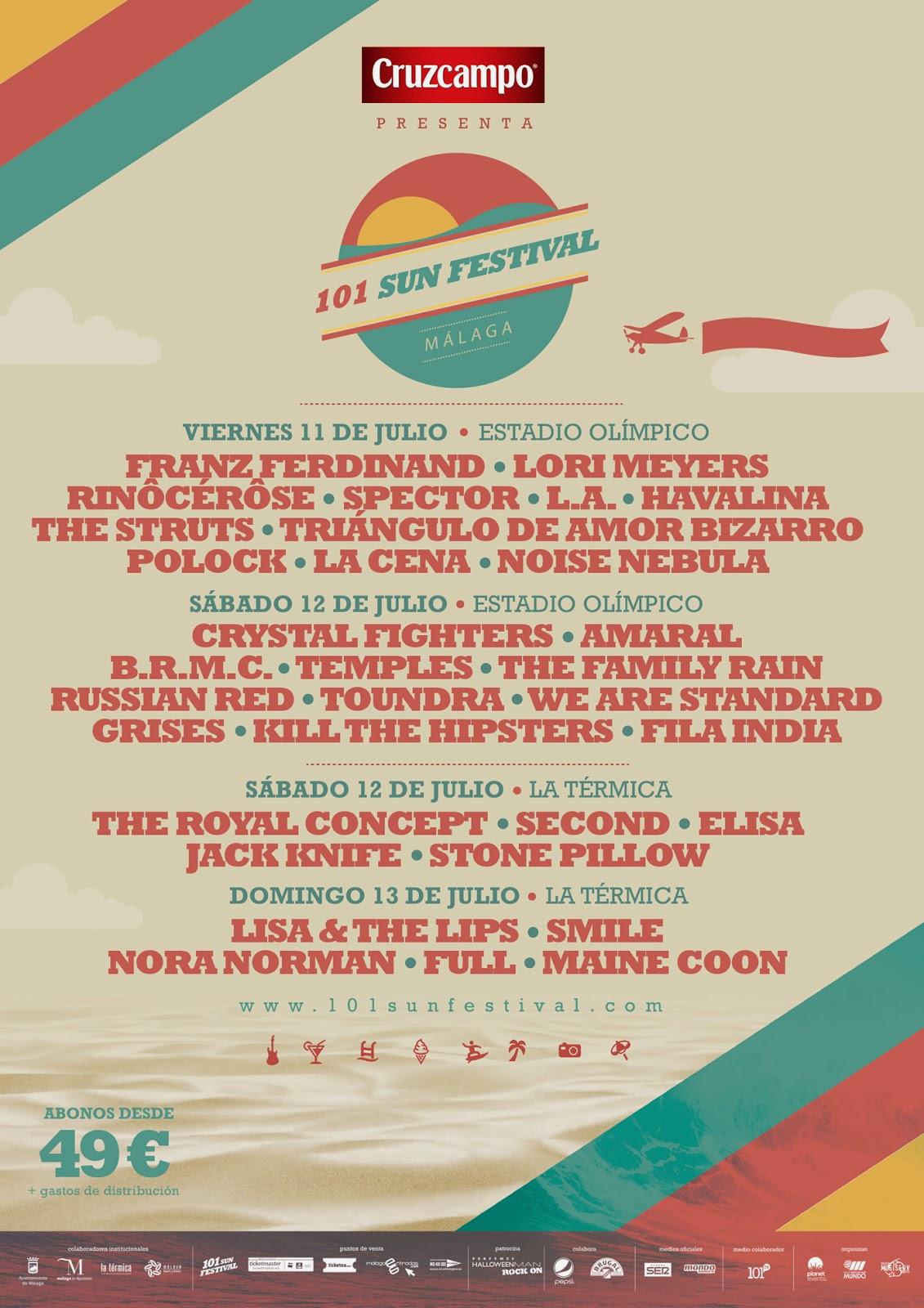 Cartel 101 Sun Festival definitivo 2014