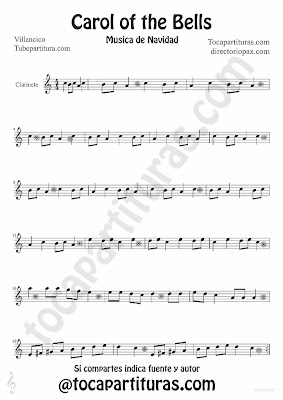 Tubescore Carols of the Bells sheet music for clarinet traditional Christmas Carol Music Score