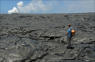 Geologist on the Big Island of Hawaii - Steam from lava ocean entry