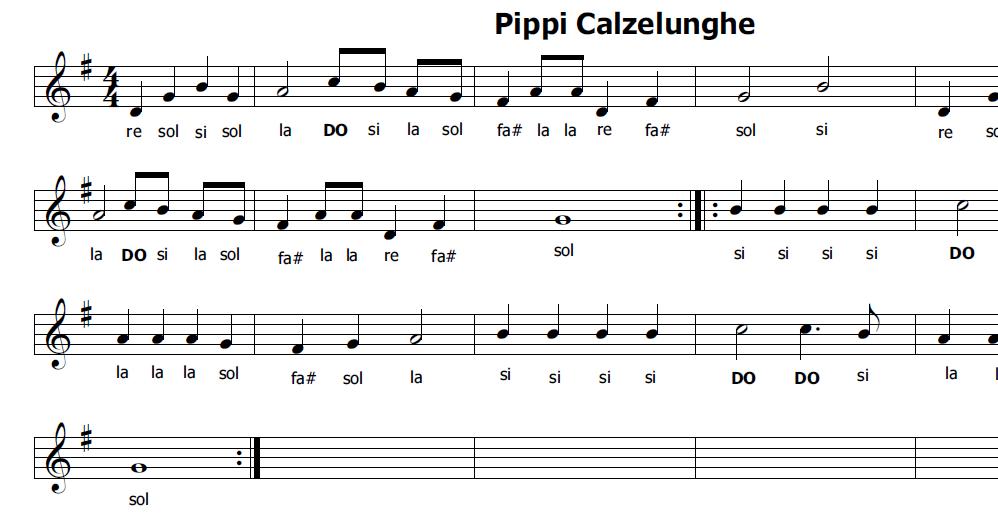 Musica e spartiti gratis per flauto dolce pippi