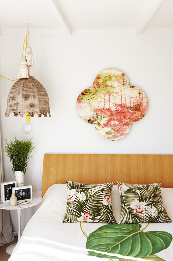 Eclectic tropical bedroom. Photo by Kevin Emirali.