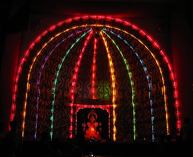 electric lighting decoration at pandal