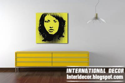 yellow pop art painting, modern pop art painting