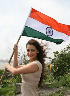 indian flag with indian girl