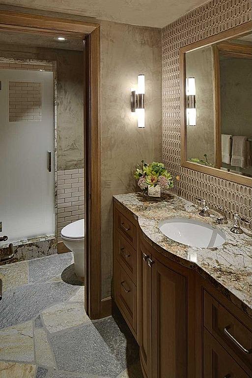 The grey home 20 rustic bathroom designs for Gray rustic bathroom