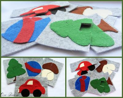 пазлы из фетра разрезные картинки малышам своими руками