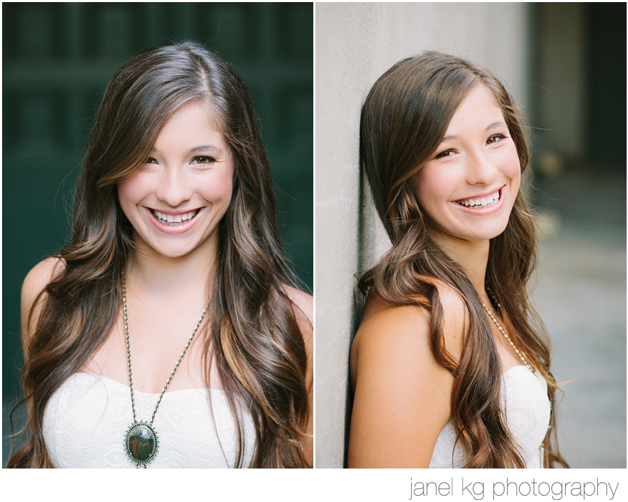 Liz sports a fabulous necklace for her senior portrait shoot with Janel KG Photography in downtown Sacramento