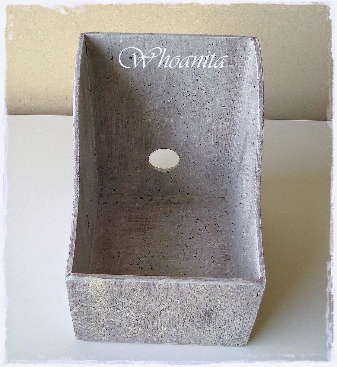 pudełko na płyty w klimatach Prowansji, przecierki, relief, decoupage