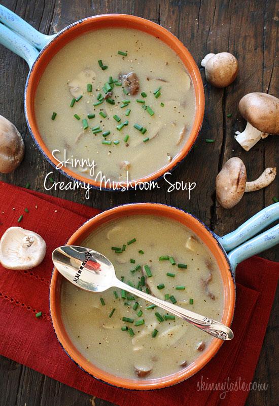 Low Fat Creamy Mushroom Soup | Skinnytaste