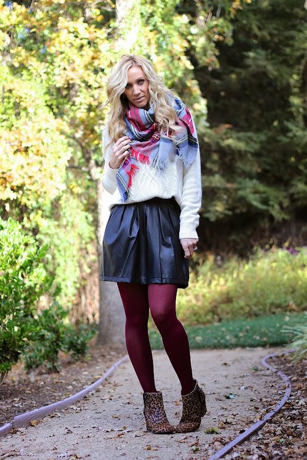 plaid scarf burgundy tights