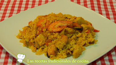 Arroz con pollo y marisco