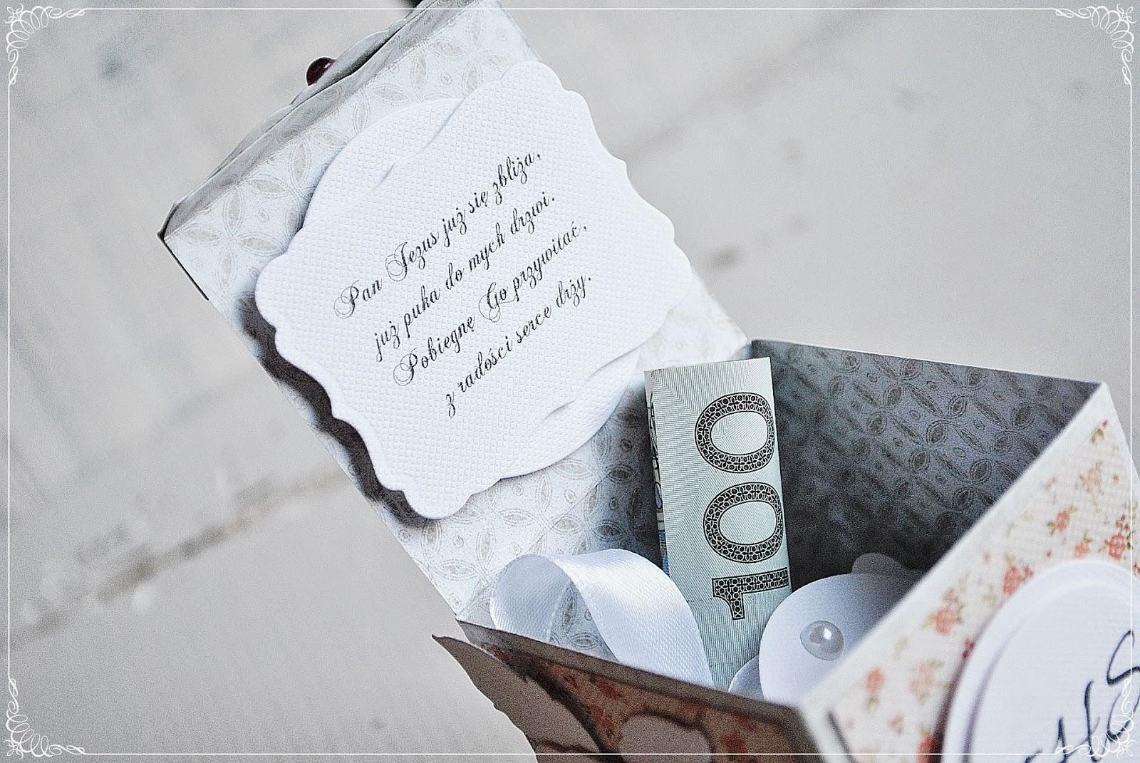 pudełeczko na pierwszą komunię świętą scrapbooking