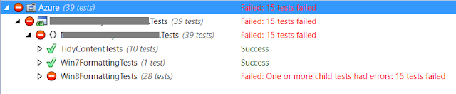 Test runner output showing both passing and failing tests