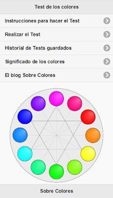 La primera versión de la pantalla principal de la aplicación del Test de los Colores. Que verde que estaba aquí...