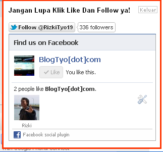 Pop Up Like Box Facebook dan Follow Twitter