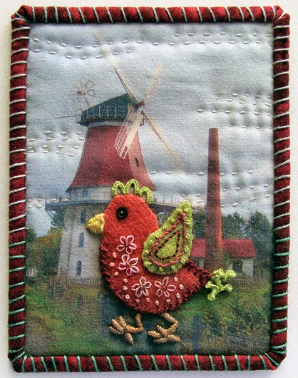 Robin Atkins, Travel Diary quilt, detail, Emtinghausen windmill, DE