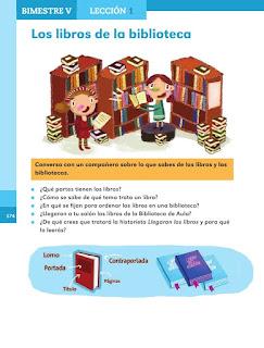 Apoyo Primaria Español 1er grado Bimestre 5 lección 1 Los libros de la biblioteca