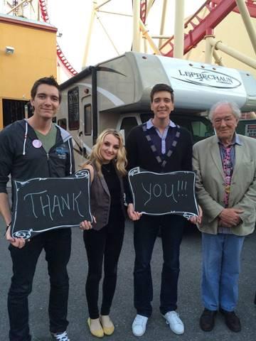 James Phelps, Evanna Lynch, Oliver Phelps y Michael Gambon Celebración Harry Potter