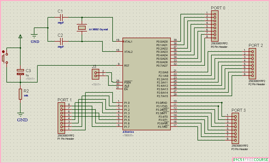 In Last Step We Will Connect Power Circuit Serial Communication And Reset Together As Shown Below Figure Now This Is The Final 89C51 8051