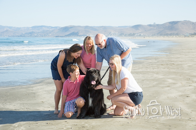 Vacation Family Portrait with Newfoundland Dog on Beach - Studio 101 West Photography