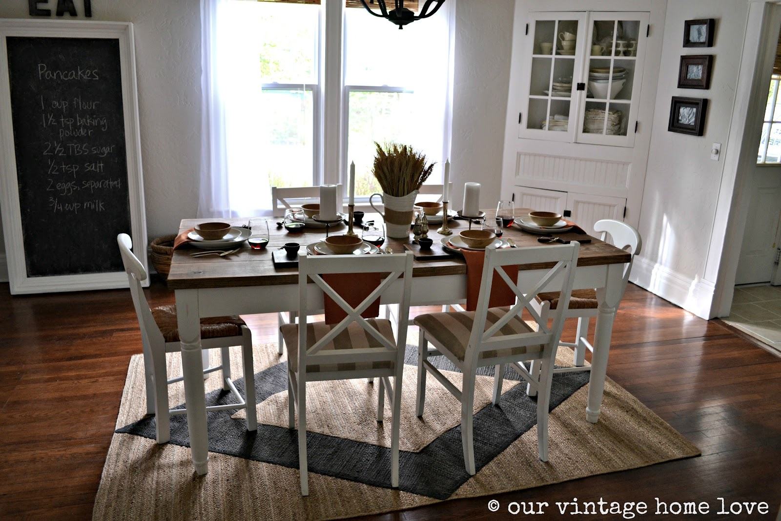 Vintage home love autumn table decor and a vintage Kitchen table in living room