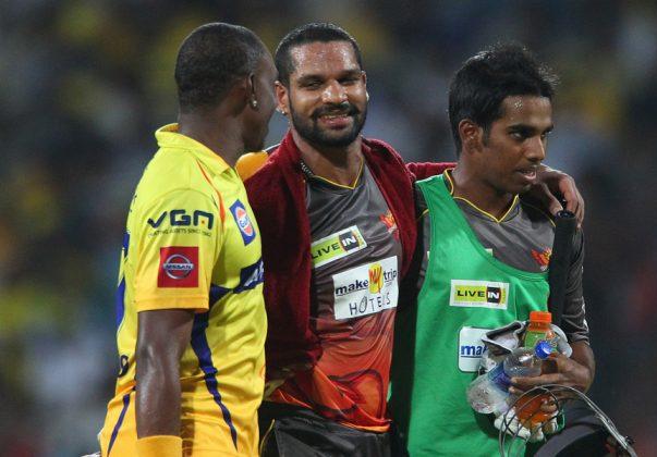 Shikhar-Dhawan-Dwayne-Bravo-CSK-vs-SRH-IPL-2013