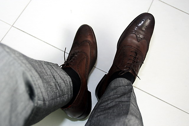 Original Grey Pants Brown Shoes