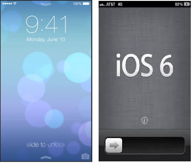 iOS 7 Vs iOS 6 Side To Unlock