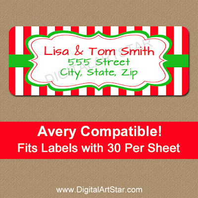 Red & White Christmas Address Labels