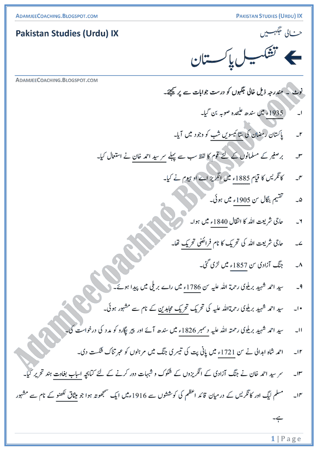 Making of Pakistan-Fill-In-The-Blanks-Pakistan-Studies-Urdu-IX