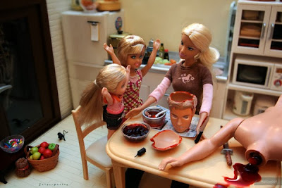 Funny psycho killer Barbie with children in kitchen image
