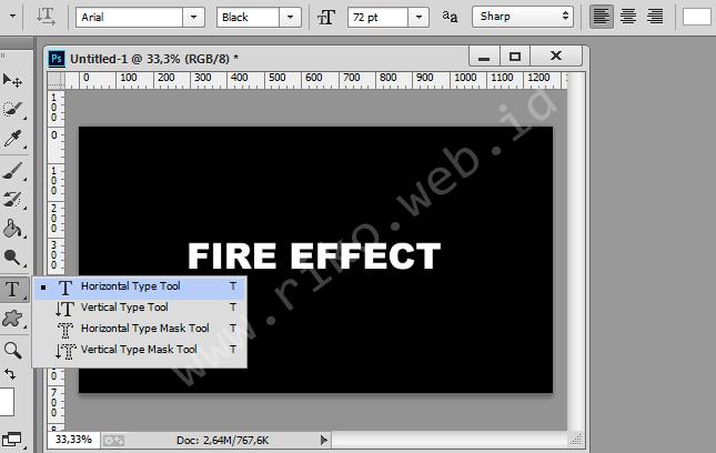 Membuat teks efek api menggunakan adobe photoshop