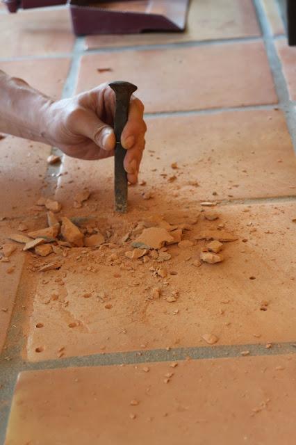 replacing a broken tile, replacing a saltillo tile, removing a broken tile