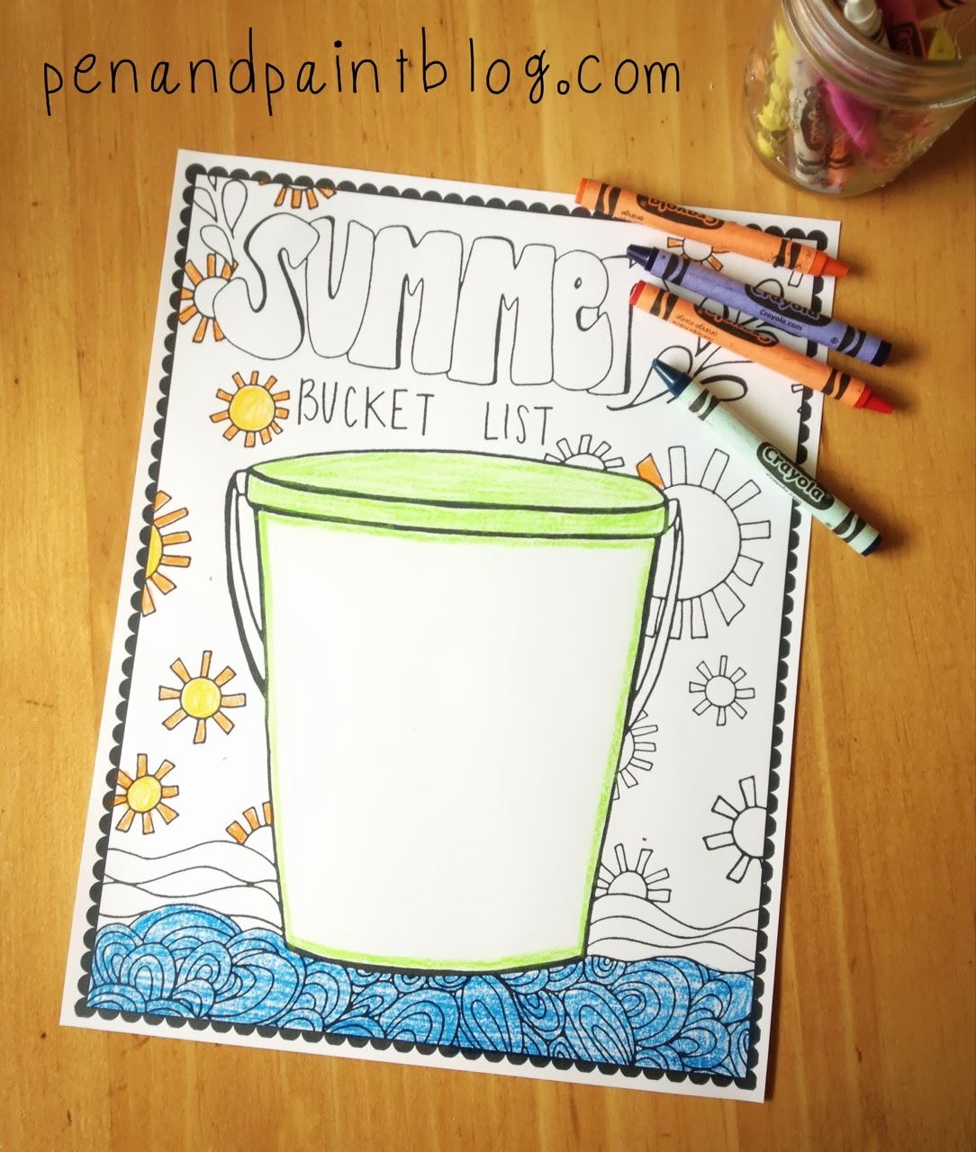 Summer is here coloring pages - Free Printable Coloring Page Summer Bucket List