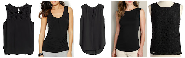 H&M Lace Top $4.00 (regular $9.95)  New York & Co Pleated Shell $11.99 (regular $19.95)  H&M Sleeveless Blouse $12.00 (regular $17.95)  Eddie Bauer Favorite Sleeveless T-Shirt $15.99 (regular $23.00)  Calvin Klein Lace Shell Tank $36.13 (regular $109.50)