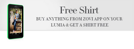 Free tshirt on shopping from ZOVI app on Lumia.