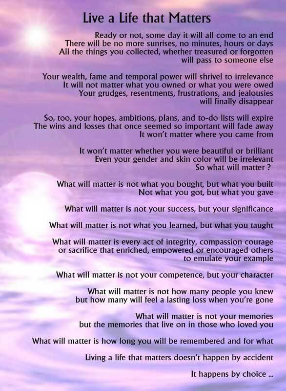 what matters in life quotes quotesgram