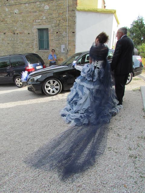 Blue and white italian wedding dress