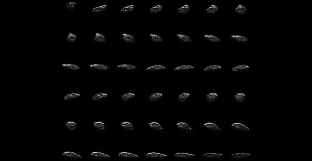 Collage of radar images of asteroid 2015 HM10 made by the Green Bank Telescope from radar transmitted from NASA's Goldstone Deep Space Network antenna. Credit: NASA/JPL-Caltech; NRAO/AUI/NSF