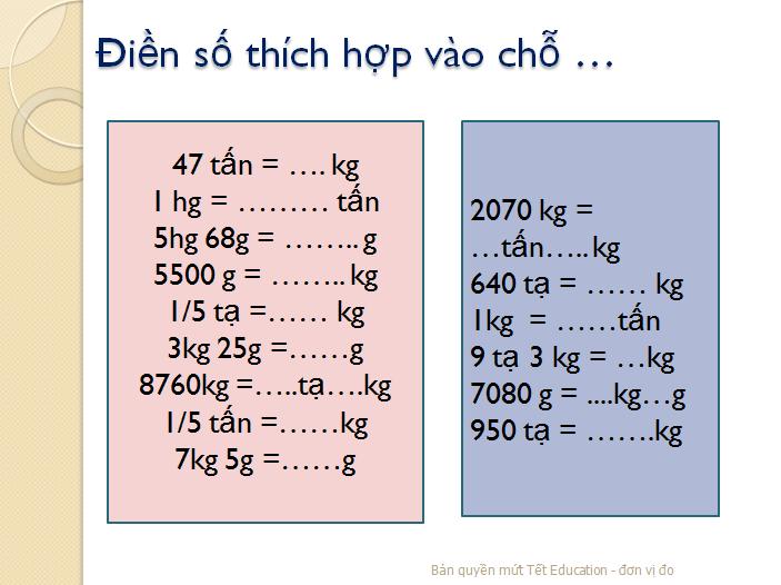 Bài tập đổi đơn vị đo khối lượng - Toán lớp 5(5)