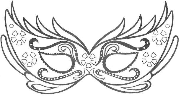 Mascara de Carnaval para Colorir