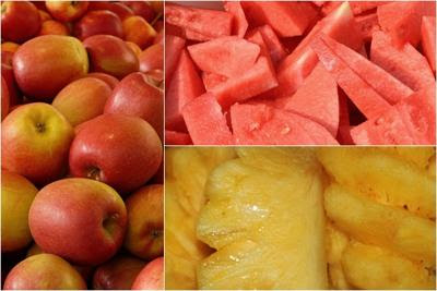bahan mix buah apel semangka nanas